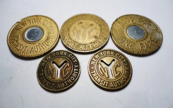 19: [5] NEW YORK CITY TRANSIT TOKENS