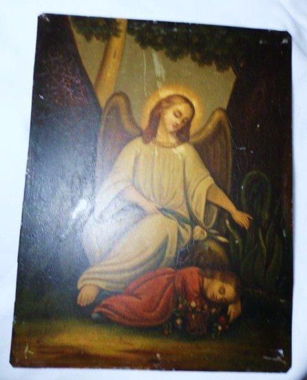 1: VINTAGE  ANGEL PAINTING ON TIN