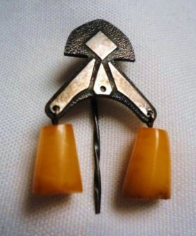 VINTAGE RUSSIAN SILVER AMBER PIN