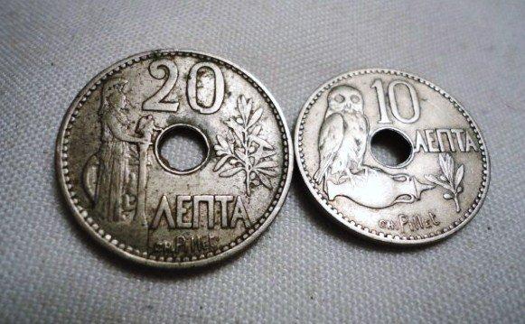 13: 1912 GREECE 10 LEPTA & 20 LEPTA COINS