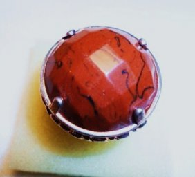 18: STERLING BROWN STONE RING