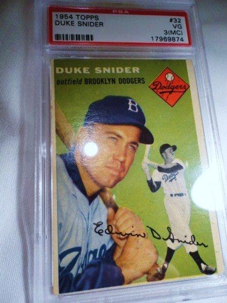 2: 1954 TOPPS DUKE SNIDER PSA CERTIFIED 3 BASEBALL CARD