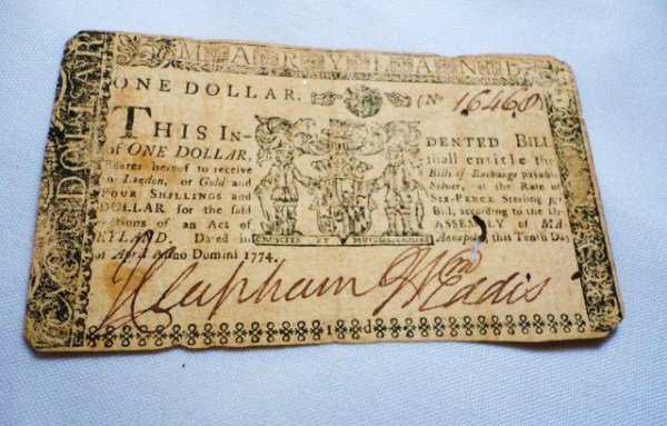 1: 1774 MARYLAND $1 COLONIAL BANKNOTE