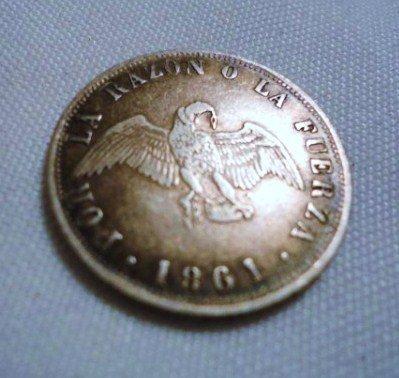 14: 1861 CHILE 20 CENTAVOS