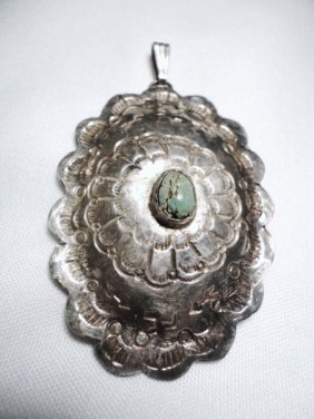 NAVAJO SILVER TURQUOISE PENDANT