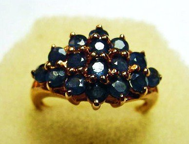 120: GOLD GILT STERLING SAPPHIRES RING SIZE 7