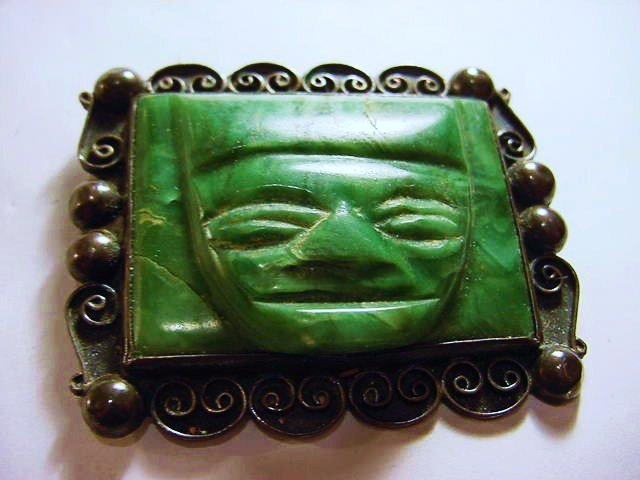 4: BARRERA MEXICAN STERLING GREEN STONE PIN