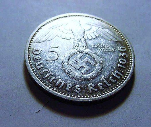 126: 1936 F NAZI GERMAN 5 REICHSMARK SILVER COIN