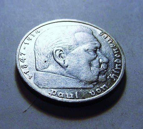 126: 1936 F NAZI GERMAN 5 REICHSMARK SILVER COIN - 2