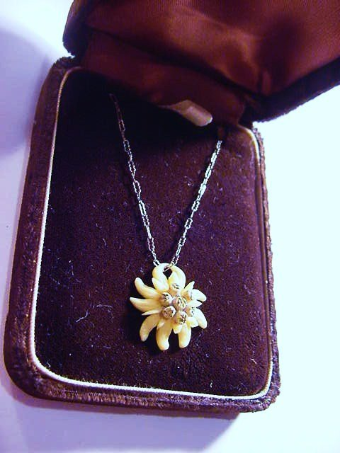 VINTAGE  CARVED EDELWEISS NECKLACE