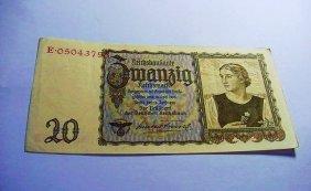 1939 NAZI GERMAN 20 MARK BANKNOTE
