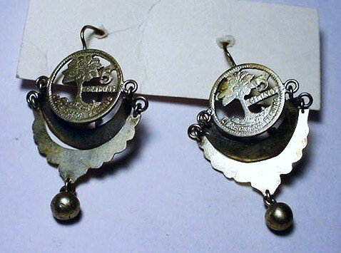 VINTAGE GUATEMALA SILVER COIN EARRINGS