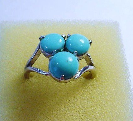 VINTAGE TURQUOISE SILVER RING SIZE 8