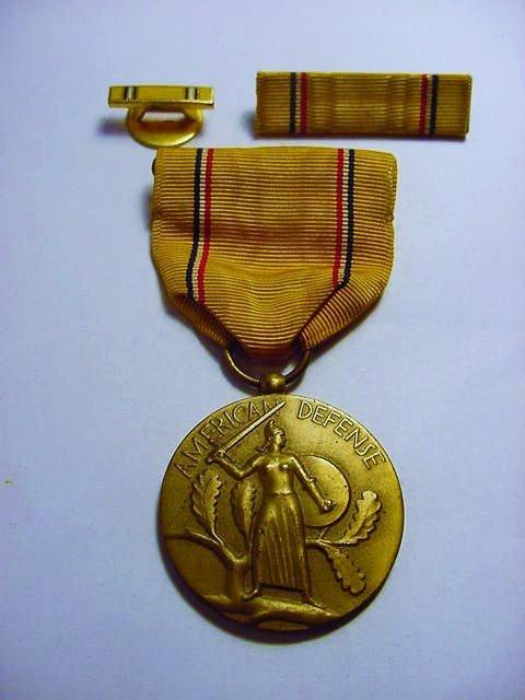 WWII AMERICAN DEFENSE MEDAL, RIBBON BAR, &  LAPEL PIN