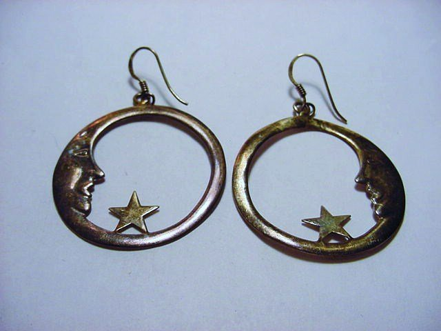 STERLING MOON MAN EARRINGS