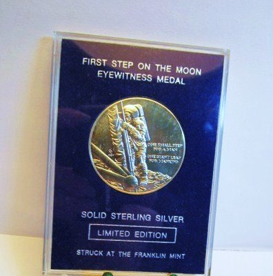 FIRST STEP ON MOON STERLING MEDAL GEM B.U.
