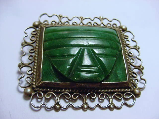 VINTAGE MEXICAN STERLING ONYX PIN