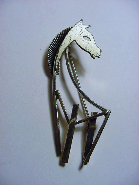 MIODERNIST STERLING HORSE PIN
