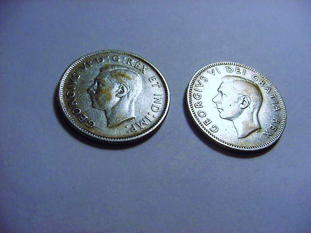 1944 & 1948 CANADA 25 CENTS