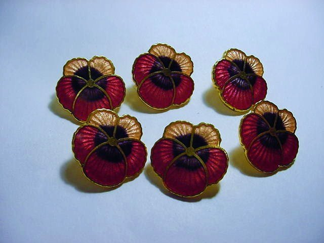 [6] ENAMEL PANSY BUTTONS