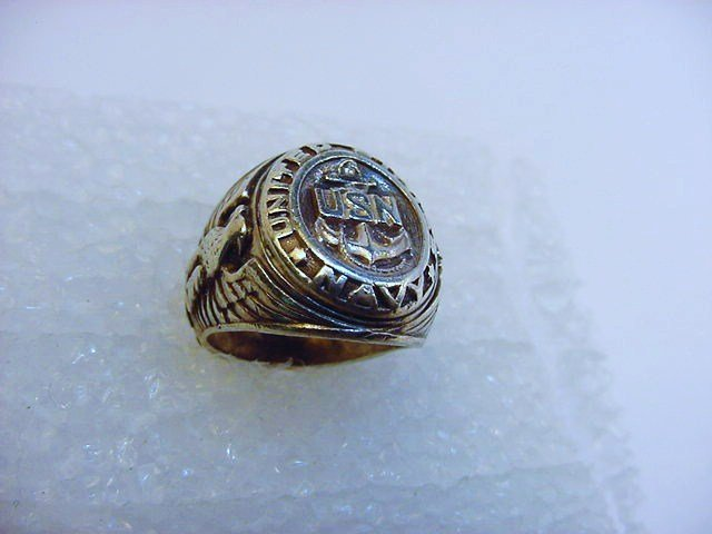 SILVER U.S. NAVY RING SIZE  5.5