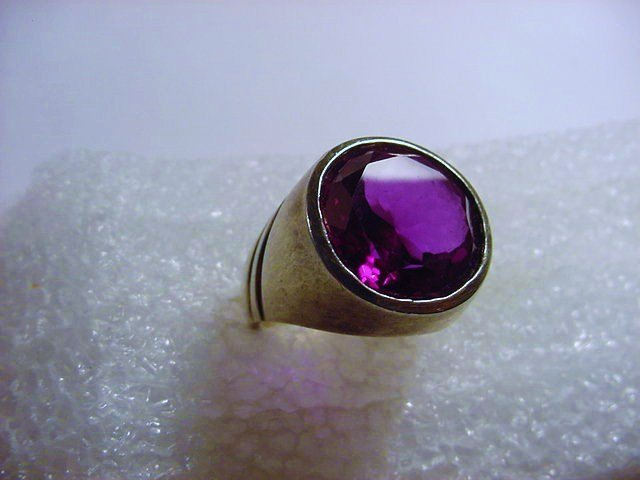 STERLING AMETHYST RING SIZE  10.5