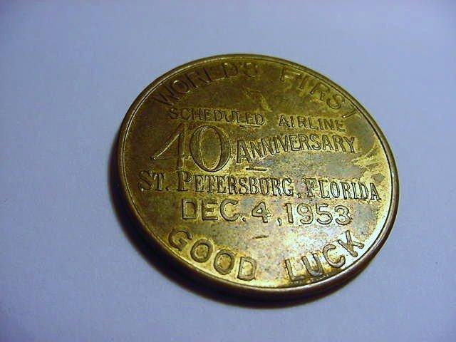 1953 ST.PETERSBURG, FLA. AIRLINES MEDAL