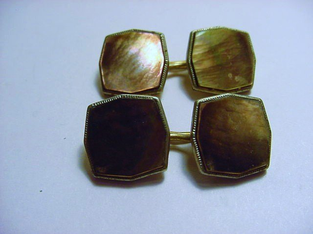 VINTAGE GOLD FILLED ABALONE CUFF LINKS