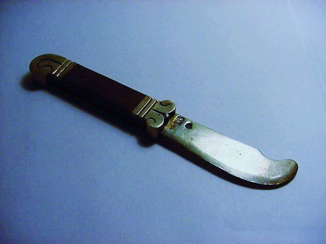 HECTOR AGUILAR MEXICAN STERLING TEAKWOOD CHEESE KNIFE