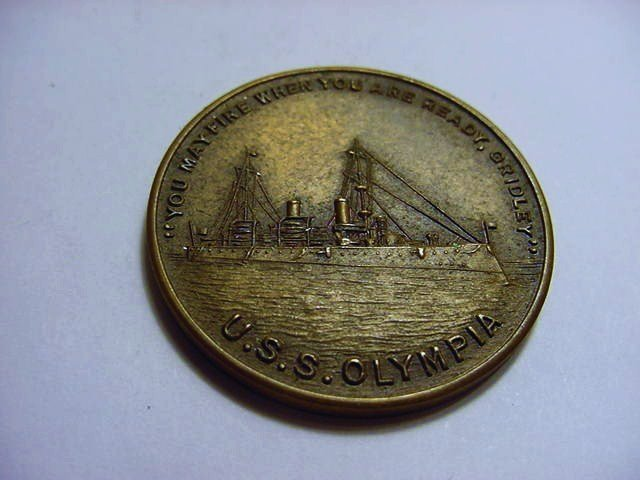 """1898 MEDAL MADE FROM ADMIRAL DEWEY""""S FLAGSHIP"""