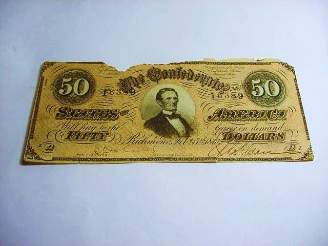 1864 CONFEDERATE $50 BANKNOTE