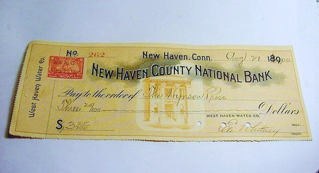 1900 NEW HAVEN COUNTY NATIONAL BANK CHECK