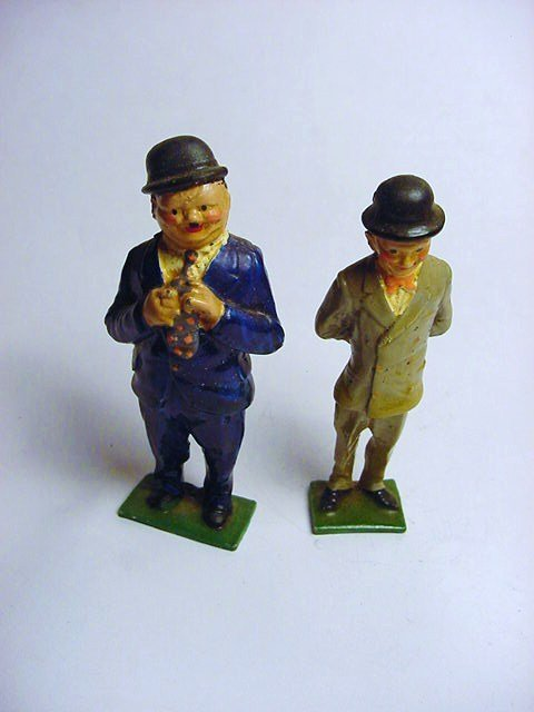VINTAGE HAND PAINTED LAUREL & HARDY TOYS