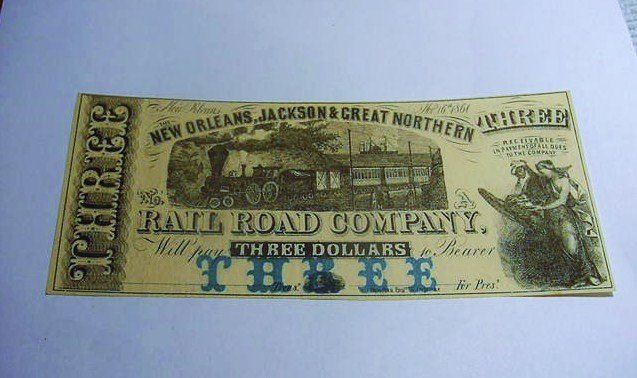 1861 NEW ORLEANS, JACKSON & GREAT NORTHERN R.R. $3