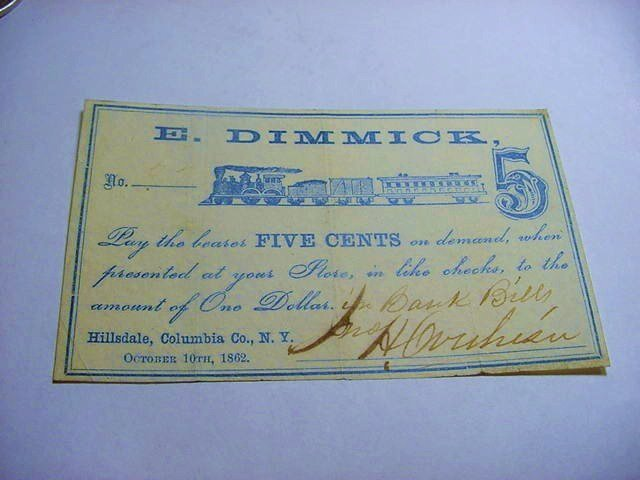 1862 E.DIMMICK 5 CENT BANKNOTE