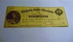 1862 NIAGARA FALLS MUSEUM BANKNOTE