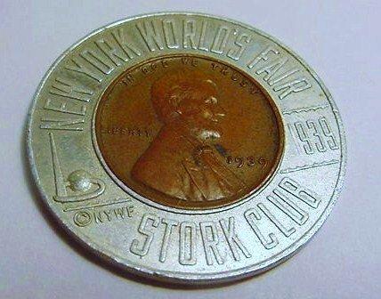 1939 NY WORLDS FAIR STORK CLUB ENCASED LINCOLN CENT