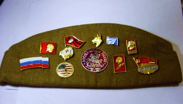 VINTAGE RUSSIAN HAT WITH MILITARY PINS