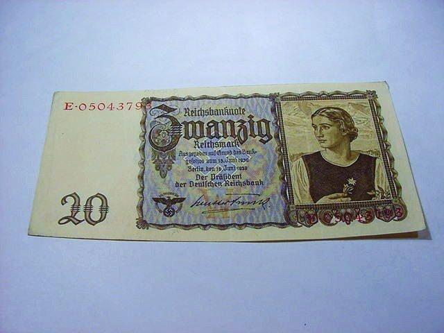 1939 NAZI GERMANY 20 REICHSMARK BANKNOTE