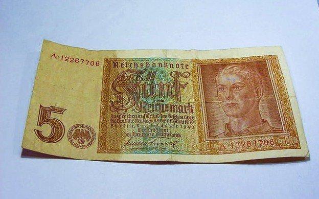 1942 NAZI GERMANY 5 REICHSMARK BANKNOTE