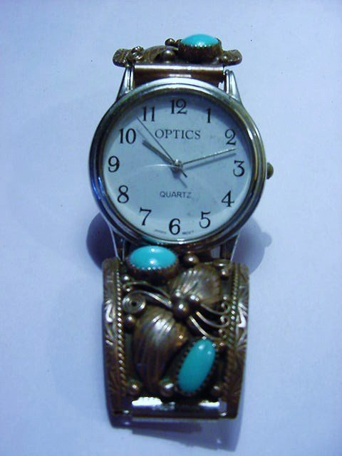 NAVAJO SILVER TURQUOISE WATCH ENHANCERS SIGNED MW
