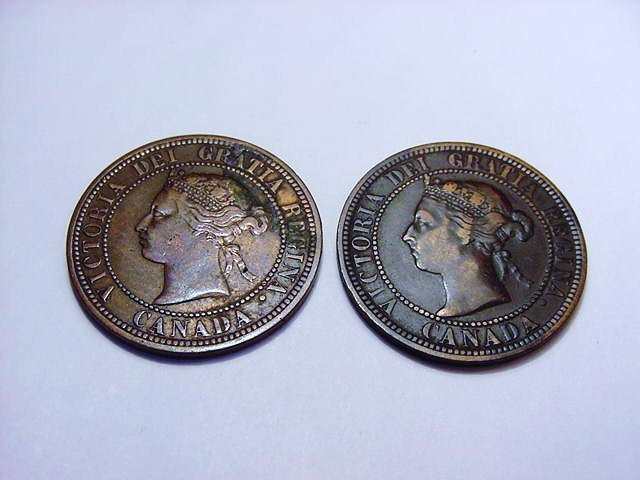1876 H & 1886 CANADA LARGE CENTS