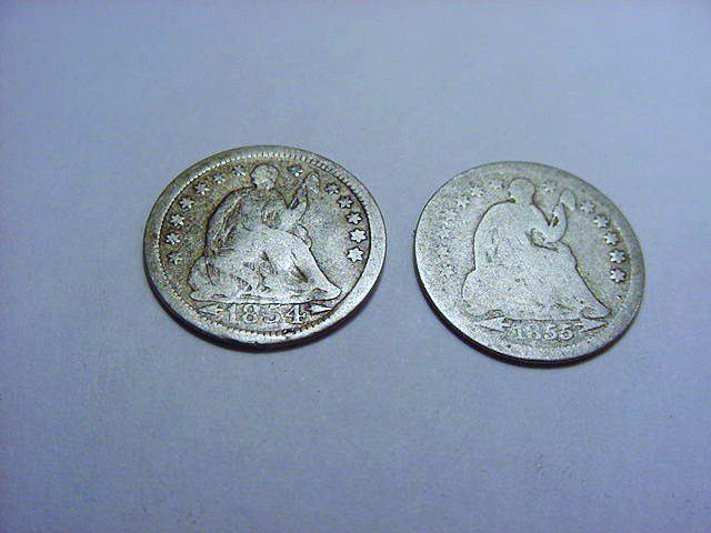 1854 & 1856 SEATED HALF DIMES