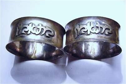 PAIR ISRAEL STERLING NAPKIN RINGS