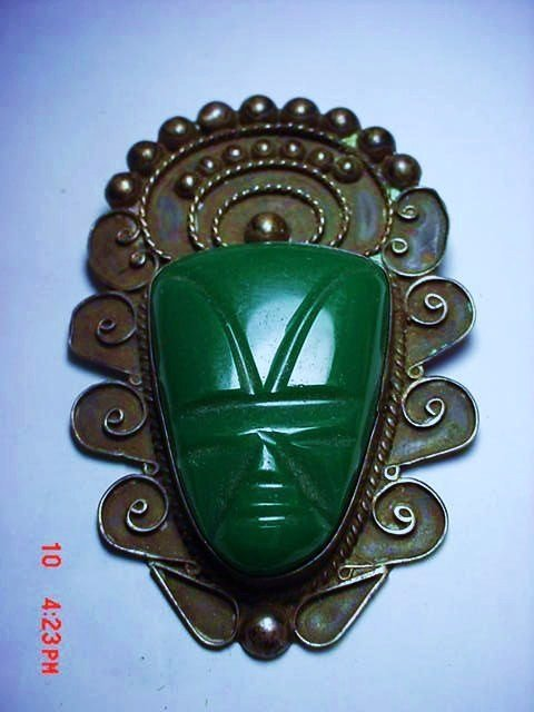 VINTAGE MEXICO STERLING CARVED ONYX PIN
