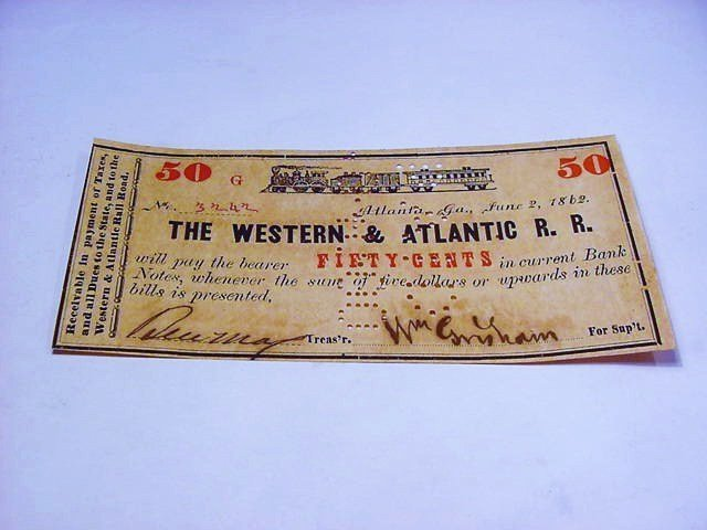 1862 WESTERN & ATLANTIC 50 CENT BANKNOTE