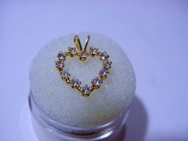 GOLD FILLED CZ HEART PENDANT