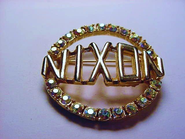 NIXON RHINESTONE CAMPAIGN PIN