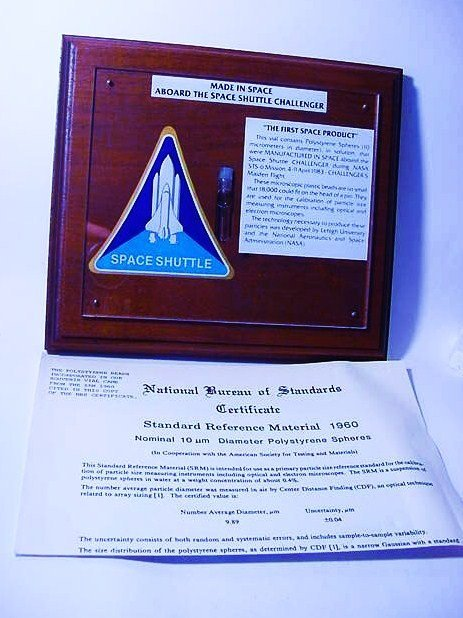 FIRST PRODUCT MADE IN SPACE ABOARD SHUTTLE CHALLENGER