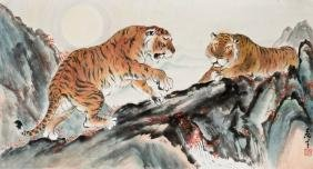 A CHINESE PAINTING OF TIGERS